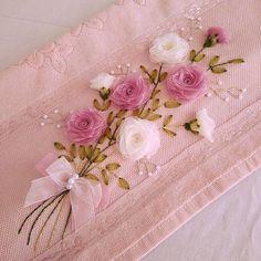 This Pin was discovered by Hav Embroidery Suits, Silk Ribbon Embroidery, Hand Embroidery, Ribbon Embroidery Tutorial, Nylon Flowers, Custom Ribbon, Ribbon Design, Ribbon Work, Ribbon Crafts