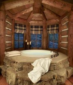 Very neat, but a little more manly, which you have to give in sometime...Also  this looks like a cabin home or western home...And it is a beautiful spot for the bath...