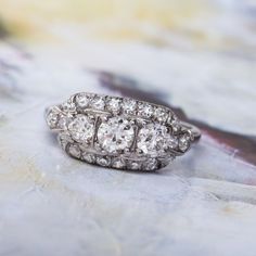 Glittering Three Stone Art Deco Ring | Pikewood from Trumpet & Horn