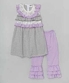 Loving this Gray Ruffle Top & Purple Ruffle Pants - Infant, Toddler & Girls on #zulily! #zulilyfinds