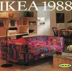The 1988 IKEA Catalogue cover. Does anyone want us to bring that sofa cover back? 80s Interior Design, 1980s Interior, 80s Furniture, Furniture Design, 1980s Living Room, Ikea Sofa, Art Deco, Vintage Interiors, Architecture