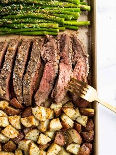Dinner on one pan with this Parmesan Crusted Steak and Potato Sheet Pan Dinner means simple and delicious dinner without the extra dishes! Juicy flank steak and crispy potatoes served with asparagus. A full meal on one pan! Parmesan Crusted Steak, Easy Dinner Recipes, Easy Meals, Dinner Ideas, Healthy Dinners, Food Dinners, Weeknight Dinners, Meal Ideas, Bon Appetit
