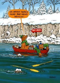 Funny Christmas card - More bad news - Shit Creek Funny Greetings, Funny Greeting Cards, Funny Cards, Funny Picture Jokes, Funny Pictures, Funny Stuff, Funny Pics, Funny Things, Funny Christmas Cards