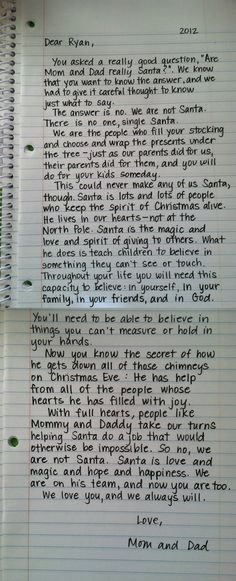 "I'm a big fan of this breakdown on Santa.  I appreciated the idea behind Santa as a child, but this letter from a child's parents just smashes the nail on the head for me.  I dislike the idea of ""robbing"" the magic of Christmas from my children with ""the truth"", but with a message like this I don't feel as though I have to anymore.  Awesome."