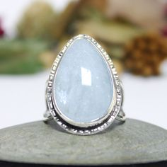 Teardrop Aquamarine Cocktail Ring/ Teardrop Aquamarine by rosajuri