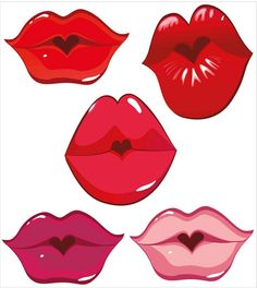 "Wall Mural ""lip, kiss, sweet - set of glossy lips in tender kiss. Clay Pot Crafts, Diy And Crafts, Arts And Crafts, Paper Crafts, Lip Stencil, Stencils, Clipart, Cartoon Faces, Diy Mask"