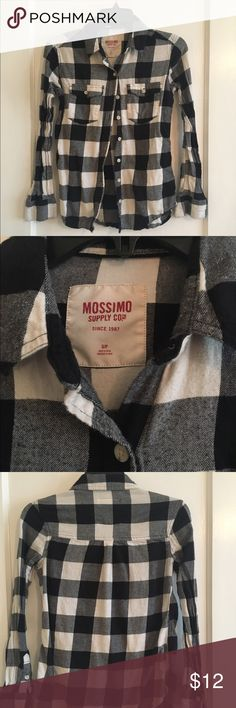 Black and white flannel shirt Mossimo black and white flannel shirt. Worn with no imperfections. Mossimo Supply Co Tops Button Down Shirts