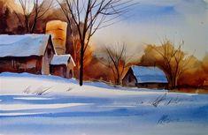 "Daily Paintworks - ""Winter demo"" - Original Fine Art for Sale - © Kathy Los-Rathburn Watercolor Barns, Watercolor Landscape, Western Art, Fine Art Gallery, Art For Sale, Farming, Watercolors, Landscapes, Winter"