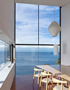 Modern House Designs - Cliff House Architecture Inspired by Modern Picas Low dining chairs -- clean view. Modern House Designs - Cliff House Architecture Inspired by Modern Picasso Art Cliff House, Floor To Ceiling Windows, Big Windows, Steel Windows, Deco Design, Design Design, Loft Design, My Dream Home, Interior Architecture