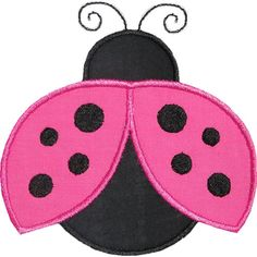 Flying Ladybug Applique Design