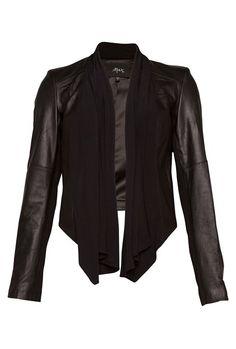 Drape+Front+Leather+Jacket+