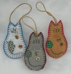 Felt Keepsake Kitty Christmas Ornament by MerrilyMadeHartworks, $9.00