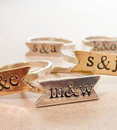 Custom Initials Banner Ring