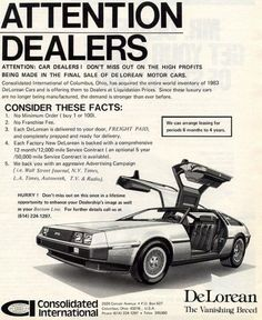 Advertising the Stainless Dream of John Delorean - Vintage Advertisements, Vintage Ads, Dmc 12, Dmc Delorean, Automobile, Car Brochure, Car Posters, Car Advertising, Us Cars