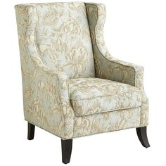 Alec Wing Chair - Floral Blue | Pier 1 Imports