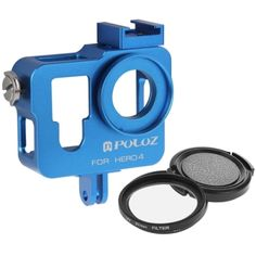 PULUZ Housing Shell CNC Aluminum Alloy Protective Cage with 37mm UV Lens Filter & Lens Cap for GoPro HERO4(Blue)