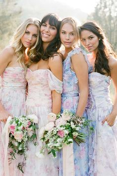 Ethereal floral prints upon flowing, feminine silhouettes. A pretty new choice for bridesmaids. Click to see these new gowns from PPS Couture. www.PPSCouture.com.