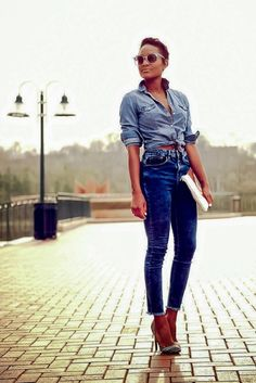 High Waisted Denim Pants and Chic Denim Shirt - 16 Totally Cool Ways to Wear Denim | GleamItUp