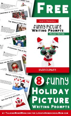 Want your kids to have fun with their creative writing? Don't miss these free Funny Holiday Picture Writing Prompts! :: www.thriftyhomeschoolers.com