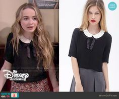 Maya's black top with white collar and ribbon on Girl Meets World.  Outfit Details: http://wornontv.net/51638/ #GirlMeetsWorld