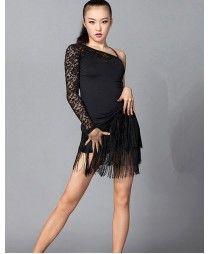 Adult women female ladies black one shoulder lace sleeves sexy fashionable  competition professional latin salsa samba cha cha rumba dance dresses set 2e41419fd