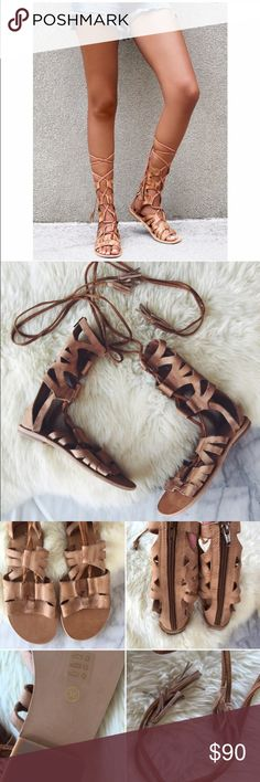 "FREE PEOPLE Lace up gladiator sandals Work once, bought new off posh. Excellent condition. 9"" shaft, features distressed leather. Not 100% sure I want to sell this yet Free People Shoes Sandals"