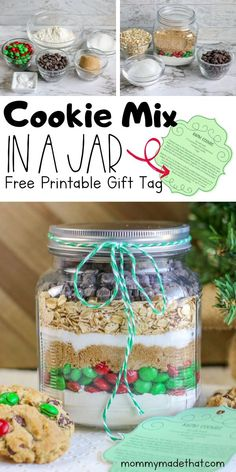 Yummy Chocolate chip cookie mix in jar recipe! Includes a free printable gift tag! An easy and perfect christmas gift.