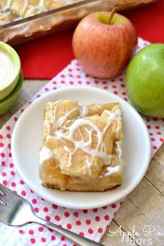 Apple Pie Bars with a sweet vanilla drizzle.SO yummy and perfect for fall!we're having a rummage sale! Cookie Desserts, Just Desserts, Delicious Desserts, Dessert Recipes, Cookie Recipes, Yummy Food, Apple Recipes, Fall Recipes, Yummy Treats