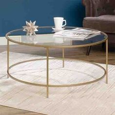 Round Glass Top Coffee Table Tempered Gold Finish Metal Frame Living Room Decor | Home & Garden, Furniture, Tables | eBay!