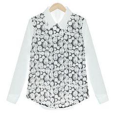 White Hollow Pattern Lapel Neck Loose Chiffon Shirt