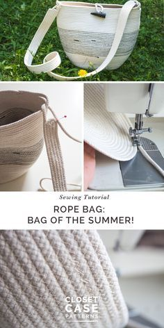 Rope Basket Purse Tutorial: The Perfect Summer Bag! - Rope basket purse tutorial // Sewing purse DIY // Closet Case Patterns via Closet Case Patterns Sew - Sewing Blogs, Sewing Hacks, Sewing Tutorials, Tutorial Sewing, Sewing Tips, Bag Tutorials, Diy Bags Purses, Diy Purse, Fabric Bowls