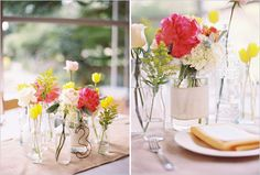 centerpieces: small bottles with small flower groupings