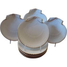 Wedgwood Pearlware Scallop Sea Shell Plates, 19th Century