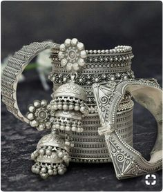 Silver jewelry Hand Made How To Make - Silver jewelry Handmade - 925 Silver jewelry Design - - 925 Silver jewelry Set Silver Jewellery Indian, Tribal Jewelry, Silver Jewelry, Silver Ring, Silver Earrings, Silver Jhumkas, Silver Bangles, Bengali Jewellery, Indian Bangles
