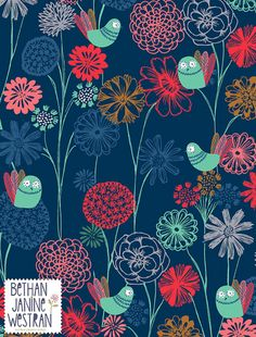 summer night surface pattern design by Bethan Janine copyright © Bethan Janine Westran 2012 Surface Pattern Design, Pattern Art, Motif Floral, Floral Design, Art Nouveau, Art Deco, Pretty Patterns, Pattern Illustration, Textile Patterns