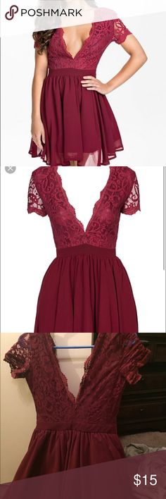 Burgundy Scalloped Lace Dress Burgundy dress with lace  deep V top, short shoulder dress. Has inner lining on the bottom half of dress so it isn't c-thru. BROKEN back zipper! Unfortunately this was sent to me broken and it was final sale  Can be fixed by an alteration place for less than $20z I wish I could keep this, but I don't have anywhere to wear it. Recommend this for weddings, homecoming, prom or any school dances! I don't remember where I bought this from, but it says size 8 and can…