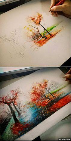 Autumn pencil art