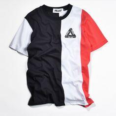 Palacio Camiseta de Los Hombres de Hip Hop Patineta Moda Raya VERTICAL TRI palacio Marea Alta Calidad del 1:1 Camiseta Kanye West Camiseta de La Bandera