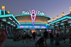 If you are looking to fill up your tanks, pop across the street to Flo's V8 Cafe. It rocks. Total 50's throwback, with the teal and pink accents, the chrome, the neon, and the giant jukeboxes!