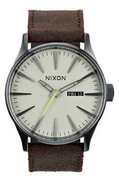 5da0cf597a0 Nixon  The Sentry  Leather Strap Watch