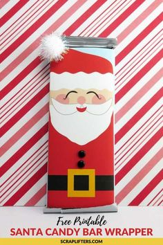 Check out these free printable Santa candy bar wrappers! To make this easy peasy DIY stocking stuffe Christmas Chocolate Bar Wrappers, Christmas Wrapper, Christmas Candy Bar, Holiday Candy, Christmas Diy, Christmas Chocolates, Christmas Nativity, Handmade Christmas, Candy Bar Wrapper Template