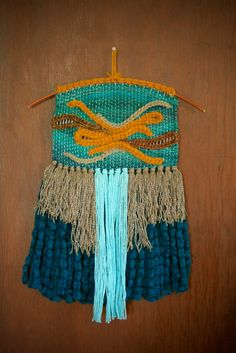 Ocean Waves Wall Hanging – Teal and Orange Fiber Art and Weaving by SallyCGarner on Etsy