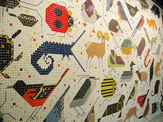 American Wildlife, a mosaic mural in the lobby of the new Cincinnati Federal Building.3 made by Charley Harper in 1964.