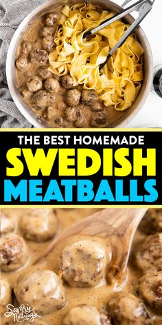 Meat Recipes 87446 Easy Swedish Meatballs are homemade meatballs in a rich brown gravy sauce. They're simple to make and taste delicious - try them for dinner with mashed potatoes or egg noodles tonight! Best Swedish Meatball Recipe, Easy Swedish Meatballs, Swedish Meatball Casserole Recipe, Swedish Meatballs And Noodles, Recipes With Meatballs, Sweedish Meatballs, Frozen Meatball Recipes, Meatballs And Gravy, Tasty Meatballs