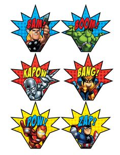 Super Squad Cupcake Toppers/Wrappers Printables by BsquaredDesign Hulk Party, Superman Party, Avengers Birthday, Superhero Birthday Party, 4th Birthday Parties, Boy Birthday, Spider Man Party, Avenger Party, Superhero Signs