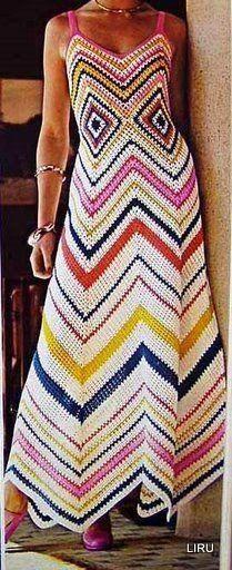 Vintage Crochet Pattern to make A Ladies Mod Maxi Chevrons Au Crochet, Moda Crochet, Knit Crochet, Crochet Hook Sizes, Crochet Hooks, Yarn Weight Chart, Crochet Summer Dresses, Vintage Crochet Patterns, Vogue Knitting