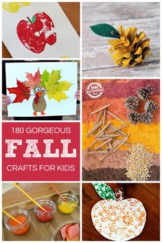 180 {Gorgeous} Fall Crafts. Try the apple craft or make a turkey!