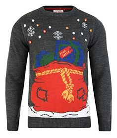 Christmas Jumper LED Light Up Presents & Parcels in Sack Novelty Xmas Knit Sweater Unisex Grey
