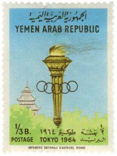 1964 Tokyo Olympics Postage Stamp from Yemen Vintage Love, Vintage Images, Vintage Art, Coffee Origin, Diy Crafts Vintage, Postage Stamp Collection, Postage Stamp Art, Tokyo Olympics, Exotic Fruit