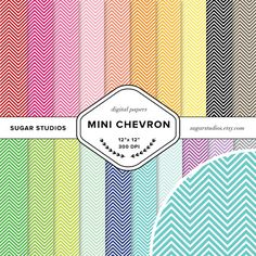 Mini Chevron 20 Piece Digital Scrapbook Paper Mega by sugarstudios $3.99